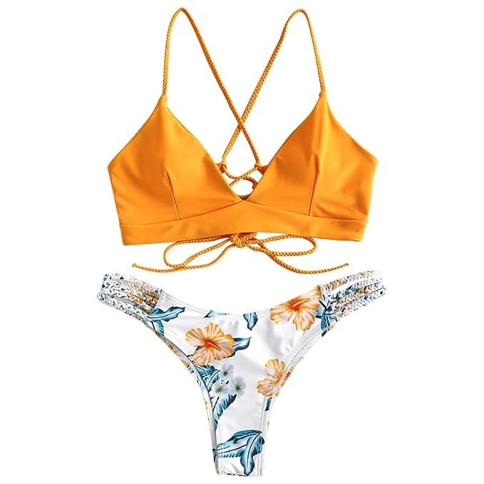 4e95c6fd3f56 ZAFUL Women's Criss Cross Lace Up Braided Floral Bikini Set Two Piece  Swimsuit (Bright Yellow