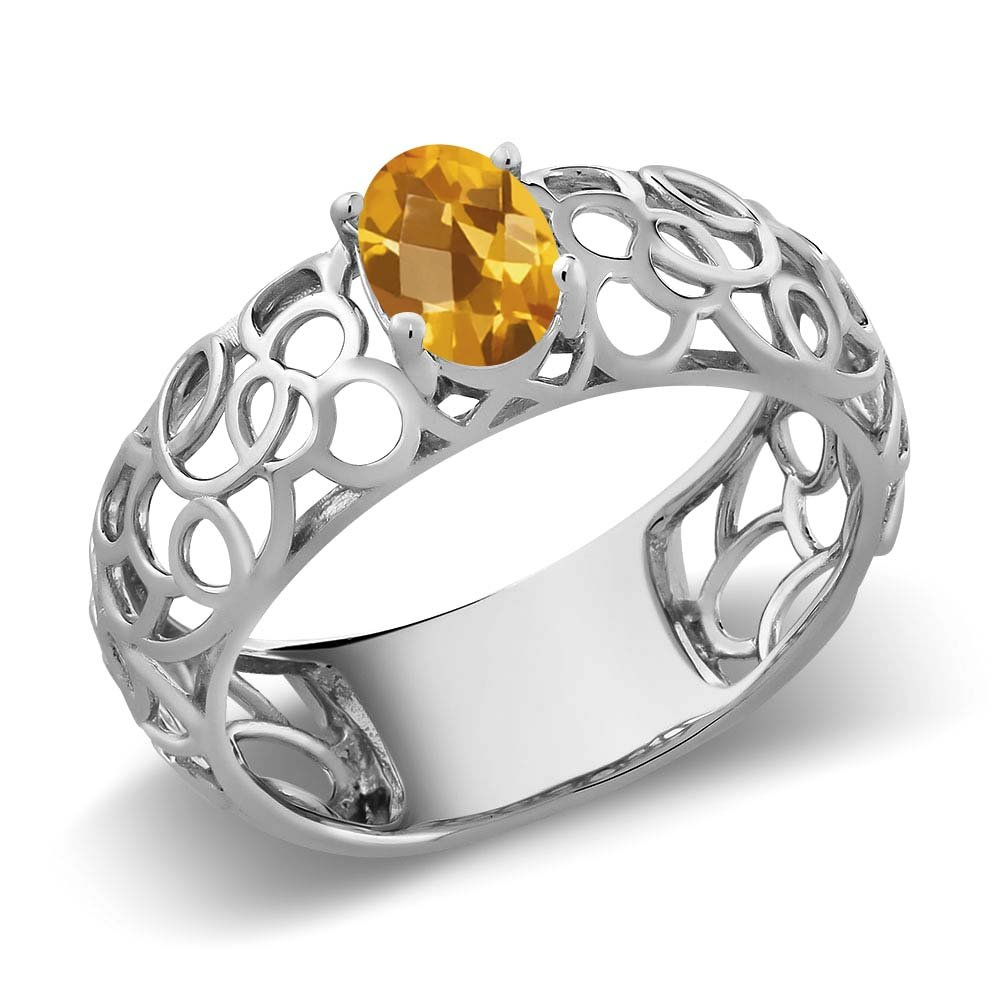 0.70 Ct Oval Checkerboard Yellow Citrine 925 Sterling Silver Celtic Filigree Ring MGZ-0966-OC-CI-Y-SS