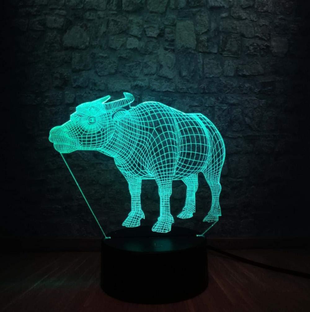 Novedad Animal Salvaje 3D Forma De Vaca Usb Led L/ámpara 7 Colores Cambiantes Colorido Dios Ganado Mesa Luz De La Noche Regalo De Vacaciones De Cumplea/ños