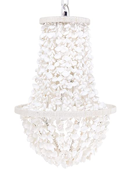 Coastal Christmas Tablescape Décor - White clamrose seashell manor chandelier