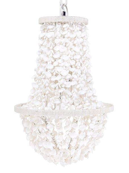 Coastal Christmas Tablescape Décor - White clamrose seashell manor chandelier