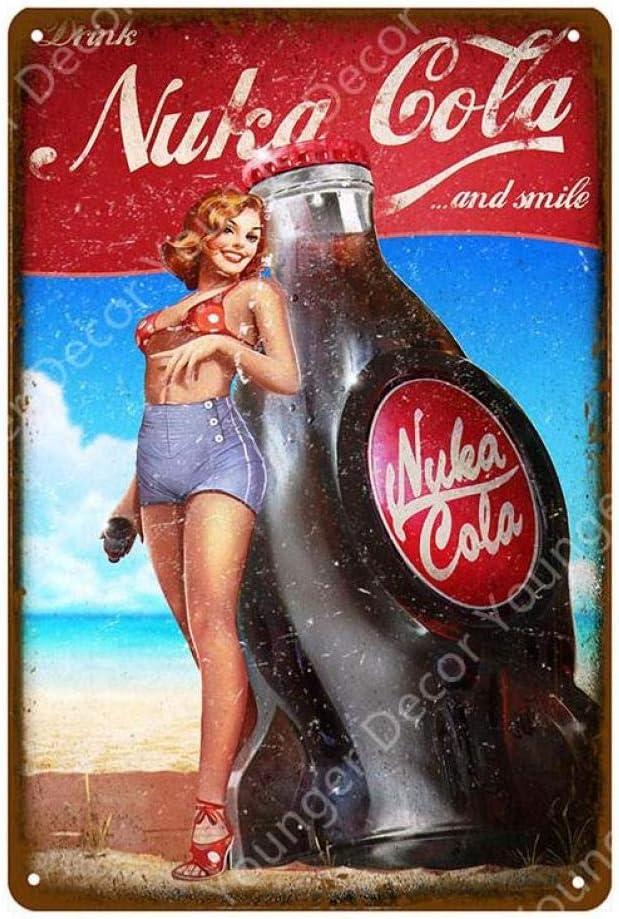 shovv Vintage Fallout 3 4 Jeu Nuka Cola en M/étal Signes Muraux Affiche Murale Pub Bar Chambre Casino D/écor Boissons Gazeuses Fer Peinture Plaque
