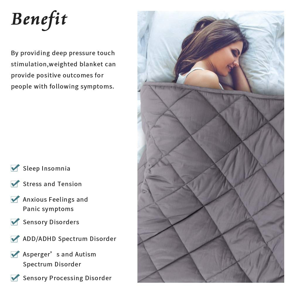2.0 Heavy Blanket Admitrack Weighted Blanket 15lbs Organic Cotton Material with Glass Beads for Adult Kids Greyblue, 48x72,15lbs for100-170lbs