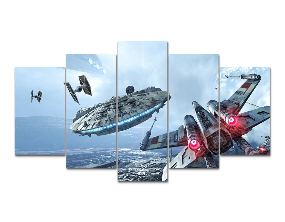 LMPTART TM 60x32inches Print Millennium Falcon X-Wing canvas wall art painting Star Wars Poster for Living Room Decor painting children Decor Print Home Decor Wall Art Painting Framed ready to hang