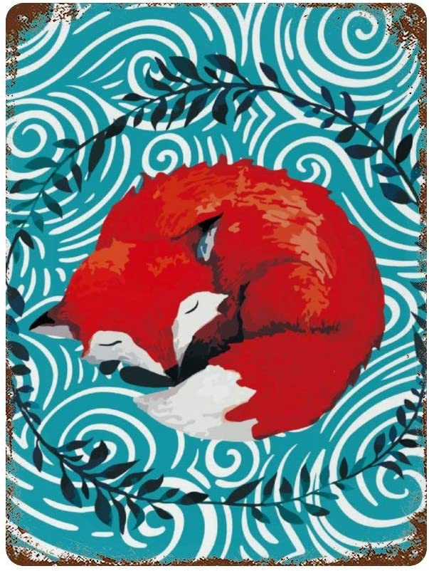 NoBrands Vintage Retro Metal Tin Sign Wall Decor Art Sleeping Red Fox Leaves Wreath Illustration Home Decor Plaque Poster Man Cave 8x12Inches (20x30cm) for Bar/Office/Home Decor