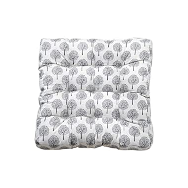 TMJJ Square Cotton Linen Floor Pillow Japanese Futon Seat Cushion Thicken Chair & Bay Window Pad 21  x 21 ,Beige Trees