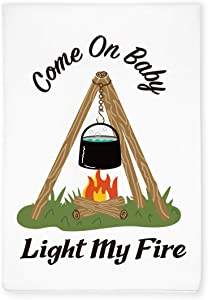 KAHPAN Funny Camper Camping Tripod Kitchen Hand Flour Sack Dish Towel, RV Motor Home Decor, Gift for Camping Lover, Friends, Retirement, Birthday, Christmas, Thanksgiving