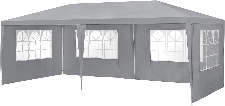/® casa.pro Gazebo da Giardino 300 x 300 x 255 cm Tenda da Giardino Struttura in Acciaio Pieghevole Impermeabile Bianco