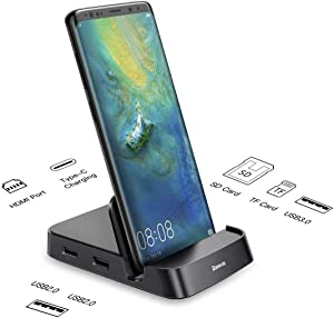 Samsung Docking Station, Baseus USB Type C HUB Docking Station for Samsung Galaxy S10/S9/S8/S10+/S9+ Note 9/8 Dex Station USB-C to HDMI Dock Power Adapter for Huawei P30 P20 Pro, Mate 10 and More