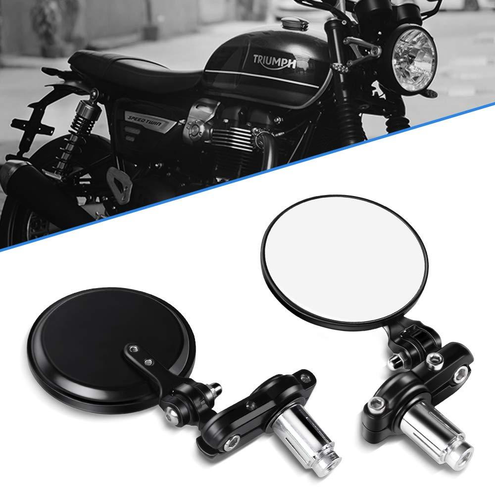 Rund Schwarz 7//8 22mm Lenkerendenspiegel R/ückspiegel f/ür Sport Bike Scooter Choppers Cruiser Motorrad Spiegel