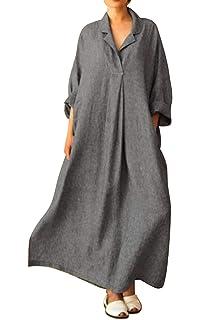 8dc6ef359f3e6c MAGIMODAC Baumwoll Leinen Kleid Damen Maxikleid Strandkleid Sommerkleid  Tunika Kleid Freizeit Casual Kleider Lang Oversize 36