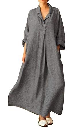 Damen Gestreift Langarm Maxikleid Sommerkleid Hemdbluse Freizeit Sommerkleid 38