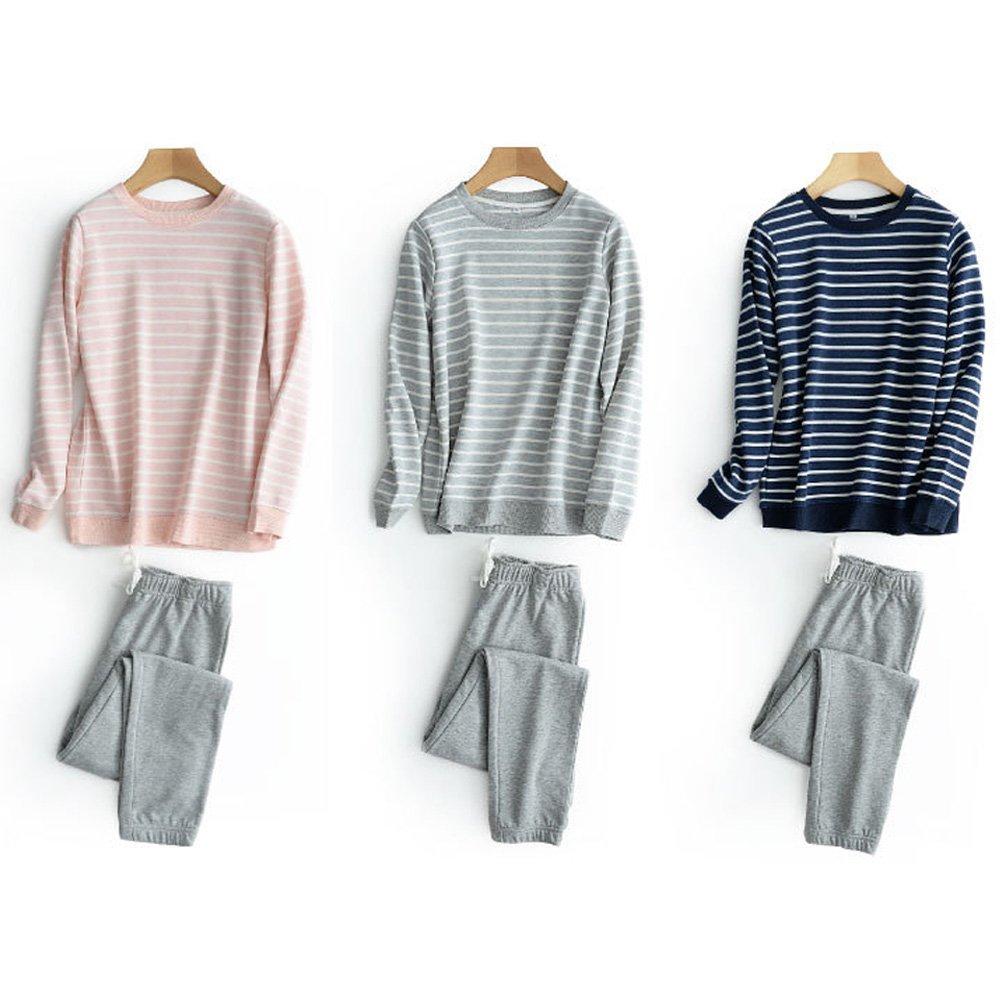 HaloVa Mens Pajamas, Striped Couple Sleepwear Set, Autumn Winter Cotton Long Sleeves Fleece Sweatshirt at Amazon Mens Clothing store: