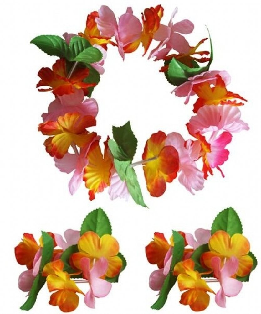 CISMARK Hawaiian Luau Flower Leis Jumbo Necklace Bracelets Headband Set(6sets),6 Sets,One Size