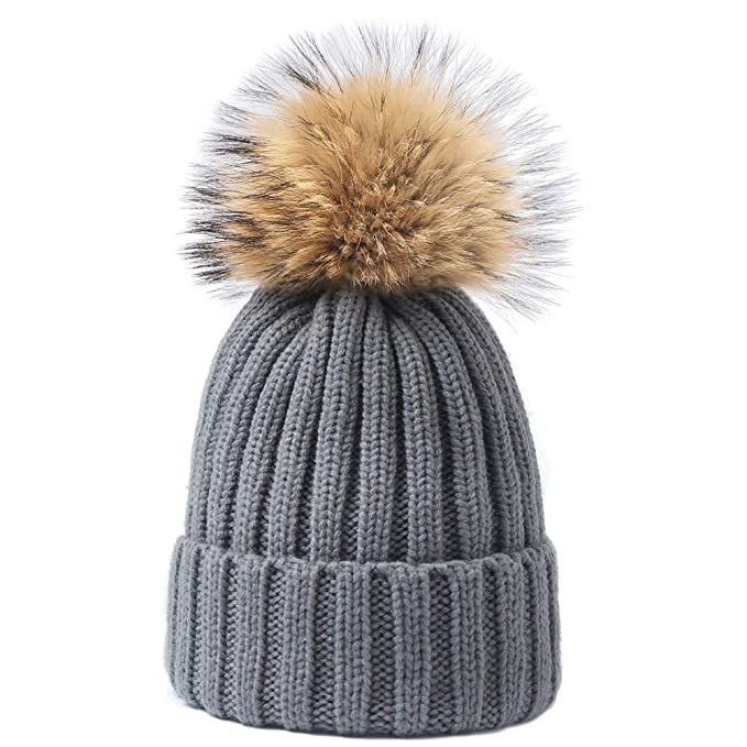 a8ba0d0e102f3 Dikoaina Womens Girls Knitted Fur Hat Real Large Silver Fox Fur Pom ...