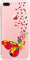 Girlscases® | iPhone 8 Plus / 7 Plus Hülle | Im Schmetterling Motiv Muster | in bunt | Fashion Case Transparente Schutzhülle aus Silikon