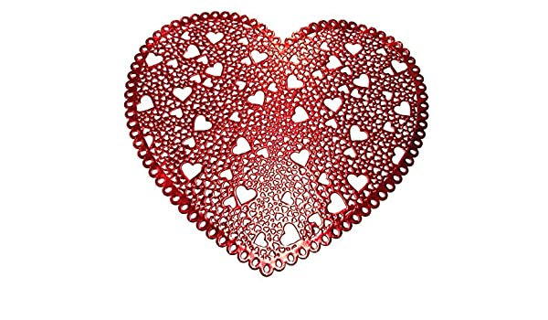 Amazon.com: Valentine\'s Day Placemat - Heart Shaped Red Vinyl ...