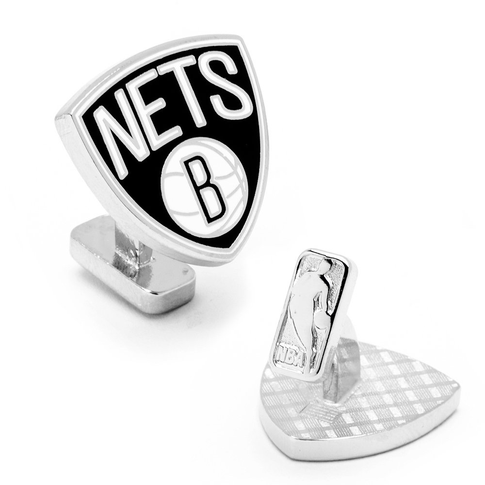 Cufflinks Inc Metal Mens Cuff Links Palladium Brooklyn Nets Logo Cufflinks Nba Black Model # PD-BNET-PP