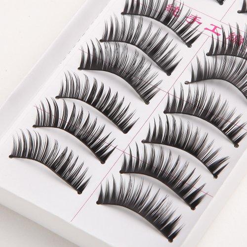 Vip Beauty Shop 10 Pairs Professional Artificial Makeup Handmade Natural Soft False Eyelashes Fake Eye Lash (C) 7002