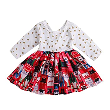 0d66da1ff Baby Girl Outfits Kids Christmas Polka Dot Dresses Toddler Fall/Winter  Clothing, Clothing - Amazon Canada