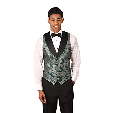 Mens Green & Silver Dollar Sign Pattern Tuxedo Vest with Black Lapel and Black Bow Tie