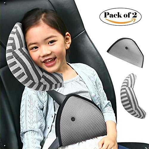 Child Seatbelt Shoulder Pad Cover for Booster /& Car Seats Accessories Washable Headrest Pink Blue Girls Seat Belt Pillow for Kids by Cuddles Toddler Safety Strap Head /& Neck Support Travel Cushion