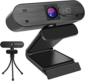 Webcam with Microphone, Aircover 1080P HD USB Camera, 360-degree Rotation, Auto Focus, Plug and Play Computer Camera with Webcam Cover/Tripod, for PC/Mac/Laptop/Desktop Video Calling, Conferencing