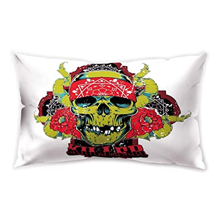 Blakww White Green Purple Rectangle Cushion Cover Pop Rock ...