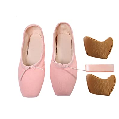 be51e4b27ebc9 DoGeek Chaussure de Ballet de Pointe Toile Chaussure Danse avec Ruban  Satin