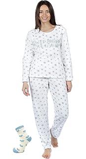 e03f56804d Womens Ladies Fleece Pyjama Set Lounge Wear Warm Soft Long Sleeve Top Night  Winter PJs…
