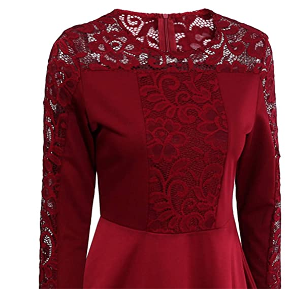 WUYIMC Womens 2019 Floral Formal Lace Vintage 3/4 Sleeve Wedding Cocktail Maxi Dress at Amazon Womens Clothing store: