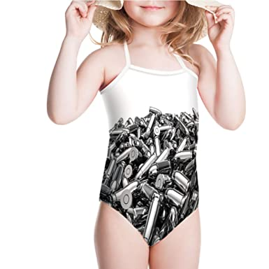 5e6ad6a91a Amazon.com  iPrint Swimsuit for Girls Silver Bullets in 3D Style Ammunition  Handgun Swimwear  Clothing