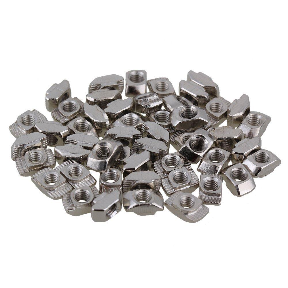 BQLZR - Tuerca con cabeza martillo en T, acero al carbono plateado, M4, para ranuras de perfil de aluminio de extrusió n conforme a la Norma Europea serie 20, pack de 50 unidades N00674