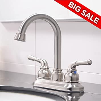 VCCUCINE Commercial Contemporary Brushed Nickel Two Handle Bathroom Sink  Faucet, Without Included Pop Up Drain