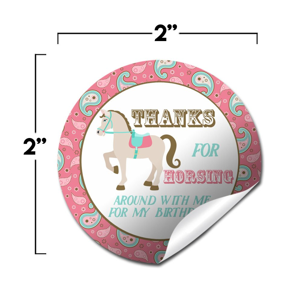 40 2 Party Circle Stickers by AmandaCreation Envelope Seals /& Goodie Bags 40 2 Party Circle Stickers by AmandaCreation Horse Back Riding Park Birthday Party Sticker Labels Great for Party Favors