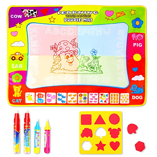 Geekper Aqua Water Doodle Mat for Kids - 4 Color Large Magic Water Drawing Painting Writing Mat Pad Board - Gift Set with 4 Magic Drawing Pens + 9 Flower Stamps (Board Flowers Painting)