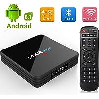 Android 8.1 TV Box ,2019 MXR Pro + 4G DDR3 32G EMMC Flash RK3328 Quad Core Processor True 4K Playing Full HD with 5G/2.4G Dual WiFi BT4.1 USB3.0 (4G+32G)