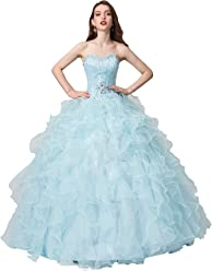 b506e00941 Engerla Women s Beading Sweetheart Ball Gown Tulle Layed Long Quinceanera  Dress