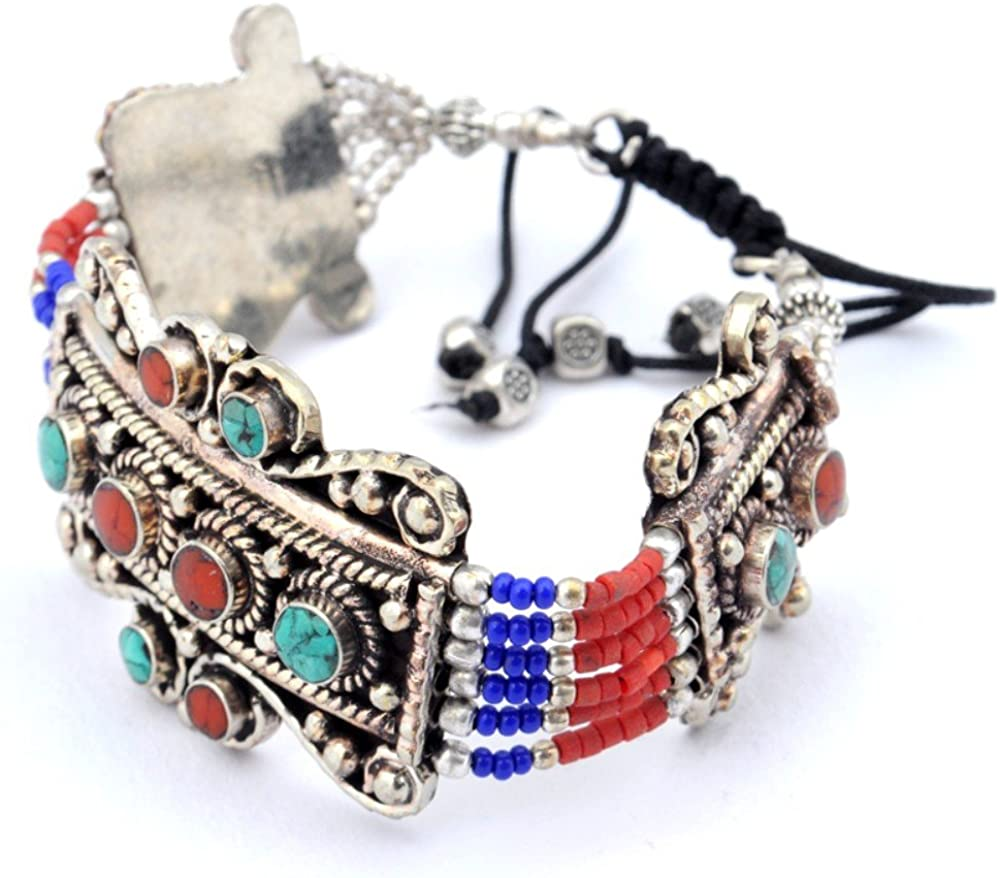 Handmade Jewelry Nepali Work Blue Turquoise Coral Sterling Silver Overlay Bracelet 7-9