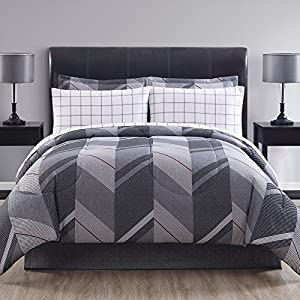 Ellison Great Value Reid II 6 Piece Bed in a Bag, Twin, Gray