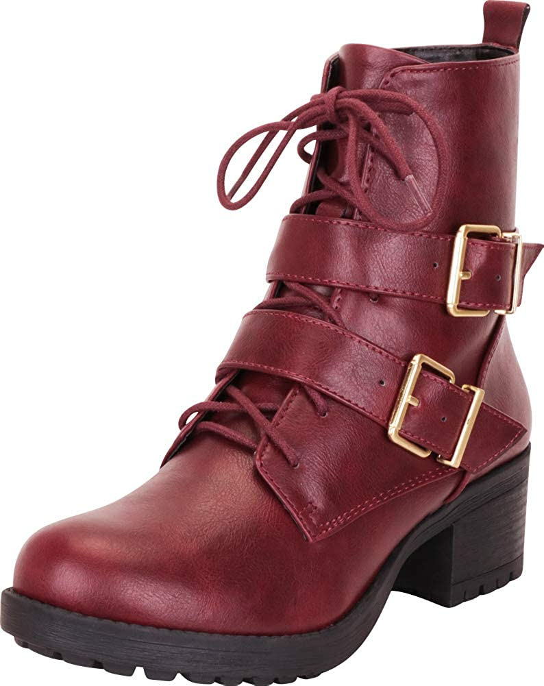 Vino Pu Cambridge Select Women's Strappy Buckle Lace-Up Stacked Block Heel Moto Combat Boot