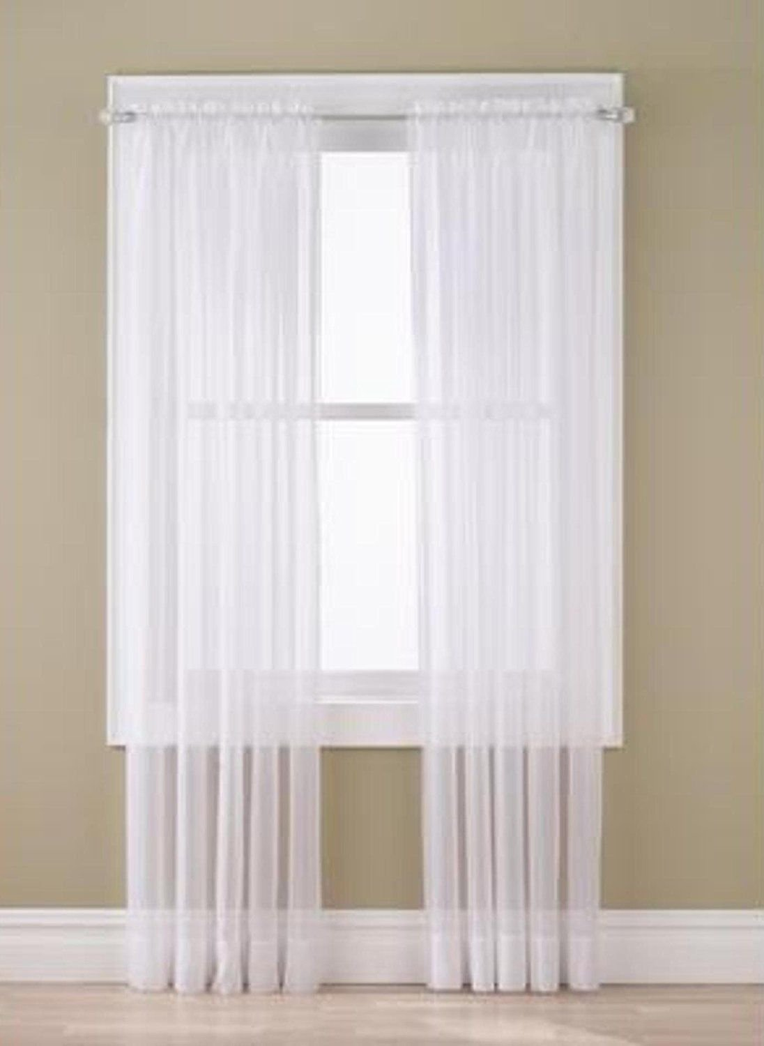 2Pc Solid Sheer Window Drapes Curtains Panel Valance Set 54''X84'' White