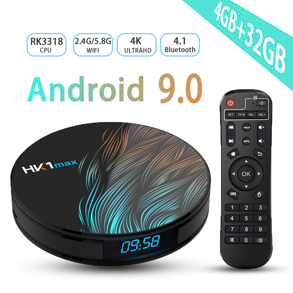 Android TV Box 9.0, Android TV Box RK3318 5.8G 2.4G Dual Band WiFi 4GB 32GB with Bluetooth 4.1 Media Player 3D 4K HD Resolution Set Top Tv Box by Transpeed