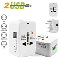 Travel Adapter,Kriyaa Worldwide All in One Universal Power Wall Charger AC Power Plug Adapter with Dual USB Charging Ports for USA EU UK AUS Cell Phone Laptop-White