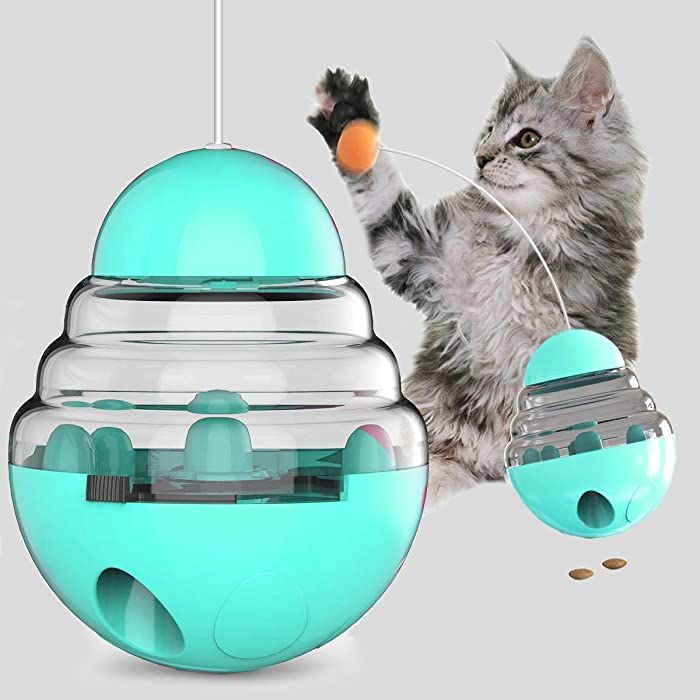 3T6B Cat Tumbler Toy, Cat Tumbler Food Dispenser Toy Cat Fodder Leaky Ball Puzzle Toy Pet Interactive Toy