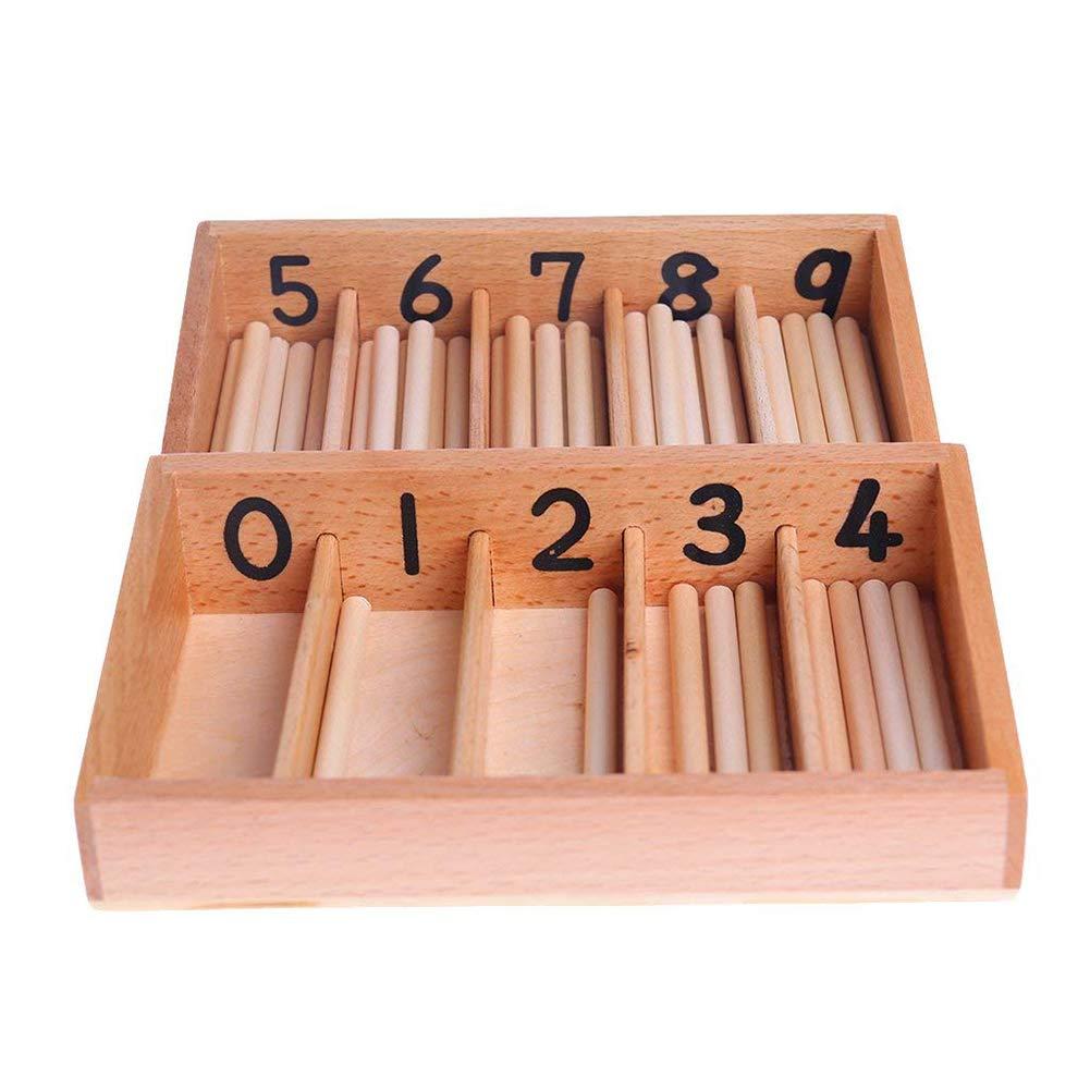 elegantstunning Enfants Montessori en Bois Bo/îte de comptage de fuseaux math/ématiques lapprentissage cl/és Counting pr/écoce Jouet /éducatif