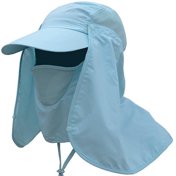 Leisial Sombrero Pesca del Sol Gorra al Aire Libre de Protección Solar  Transpirable Cap Sombrero de Ala Ancha Protección UV Protege Cuello Cara  para Hombre ... f41eca11314