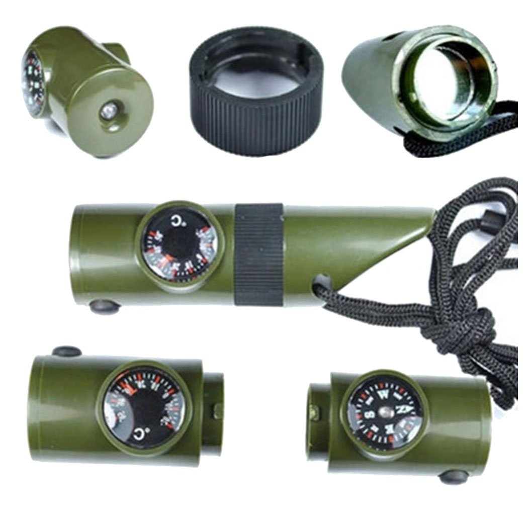 InKach Survival Compass 7 in 1 Field Survival Whistle Compass Thermometer Flashlight Magnifier
