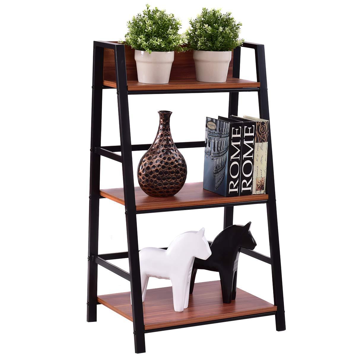 Tangkula 3-Tier Ladder Shelf Home Office Bookshelf Plant Display Stand Storage Shelves Multipurpose Corner Shelf Bookcase