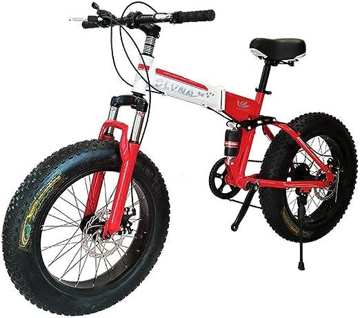 Bicicleta de montaña, Bicicleta Plegable de 26 Pulgadas con Marco de Acero súper Ligero, Bicicleta Plegable de Doble suspensión y Velocidad Shimano de 27 velocidades, Rojo, Velocidad 21: Amazon.es: Hogar